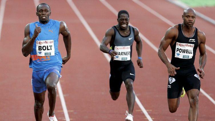 Bolt devant Lemaitre lors du meeting Areva 2011