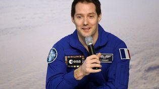 L'astronaute Thomas Pesquet, lors d'une conférence de presse à Cologne (Allemagne), le 6 juin 2017. (ROBERTO PFEIL / AFP)