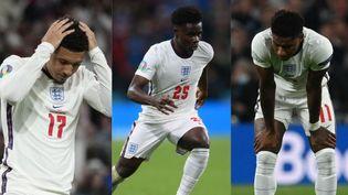 De gauche à droite :Jadon Sancho, Bukayo Saka et Marcus Rashford. (AFP)