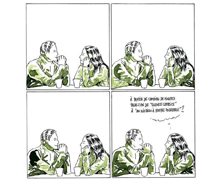 """""""10 h 26 - Marina et Julian"""" page 17 de """"Moins qu'hier, plus que demain""""  (Fabcaro )"""