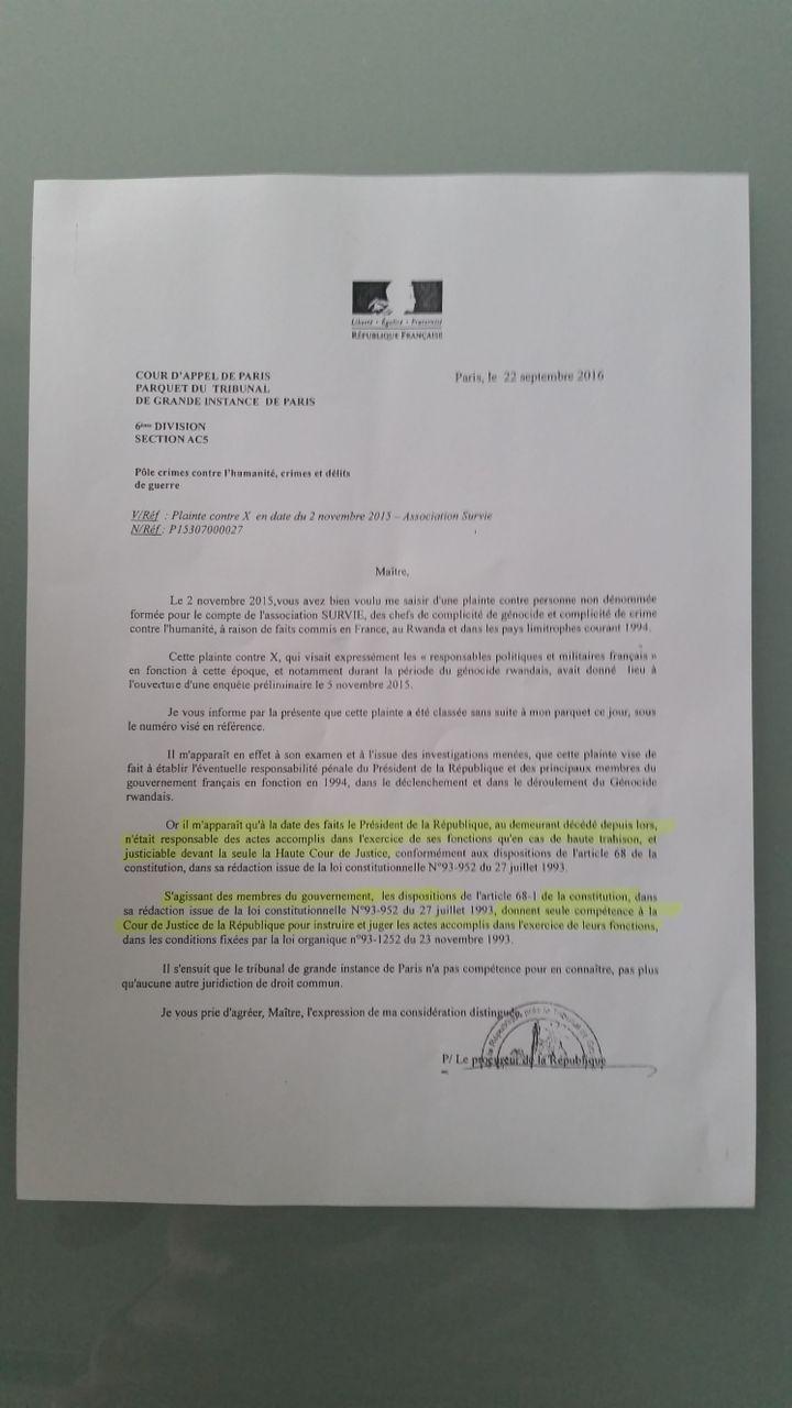 Lettre du procureur en 2016, rejetant la plainte simple. (RADIO FRANCE)