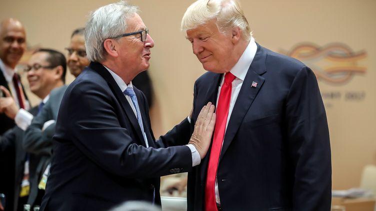 Jean-Claude Juncker et Donald Trump lors du sommet du G20 à Hambourg, le 8 juillet 2017 (MICHAEL KAPPELER / POOL)
