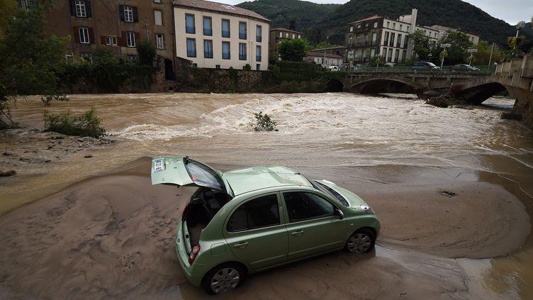 La Lergue en crue à Lodève(Hérault), le 13 septembre 2015. (PASCAL GUYOT / AFP)