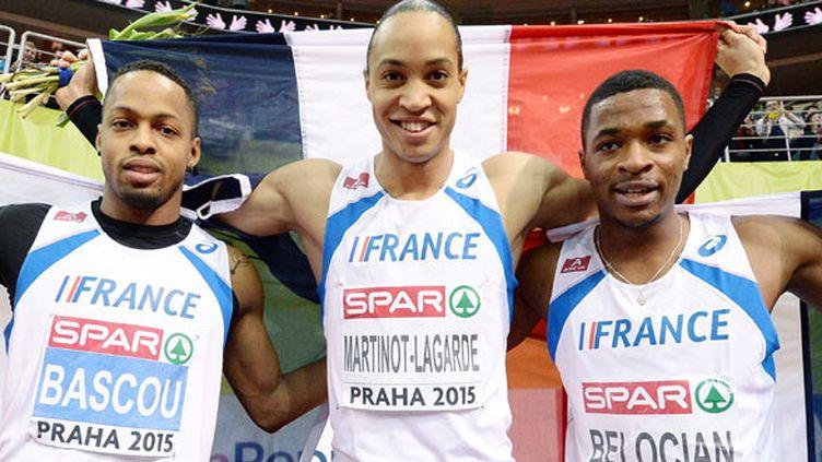 De gauche à droite, les athlètes français Dimitri Bascou, Pascal Martinot-Lagarde et Wilhem Belocian