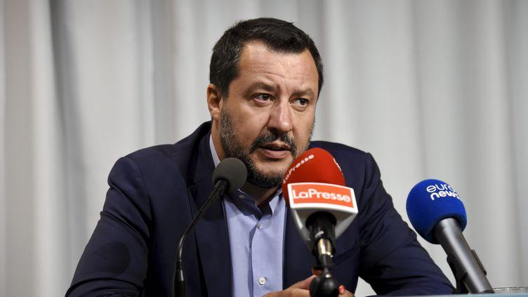 Le ministre de l'Intérieur italien, Matteo Salvini, le 18 juillet 2019, lors du sommet d'Helsinki (Finlande). (EMMI KORHONEN / LEHTIKUVA / AFP)