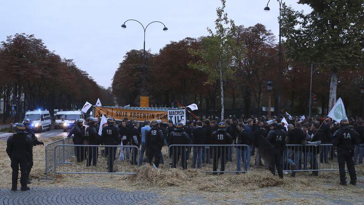 Près de 250 agriculteurs ont manifesté sur les Champs-Elysées à Paris, le 22 septembre 2017.  (JACQUES DEMARTHON / AFP)