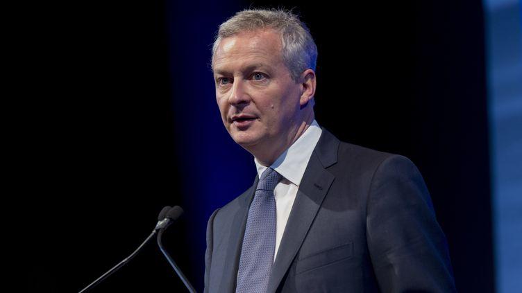 Le ministre de l'Economie Bruno Le Maire, le 15 juin 2015, au congrès de la Fédération française du bâtiment, à La Baule (Loire-Atlantique), le 15 juin 2018. (ESTELLE RUIZ / CROWDSPARK / AFP)