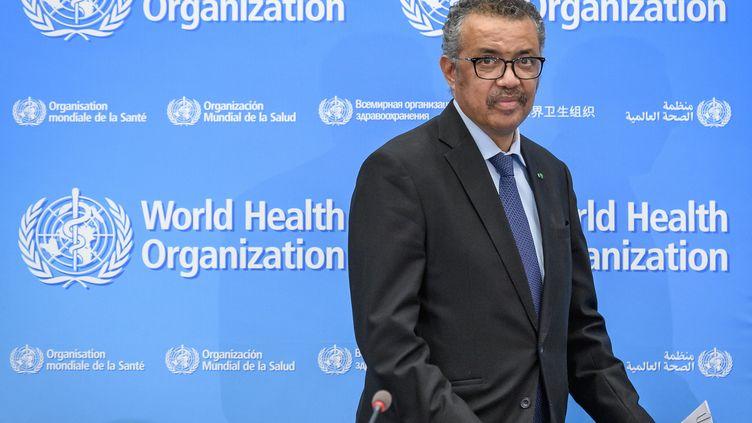 Le directeur général de l'Organisation mondiale de la santé (OMS), l'EthiopienTedros Adhanom Ghebreyesus, lors d'une conférence de presse au siège de l'Organisation, lundi 24 février 2020 à Genève (Suisse). (FABRICE COFFRINI / AFP)