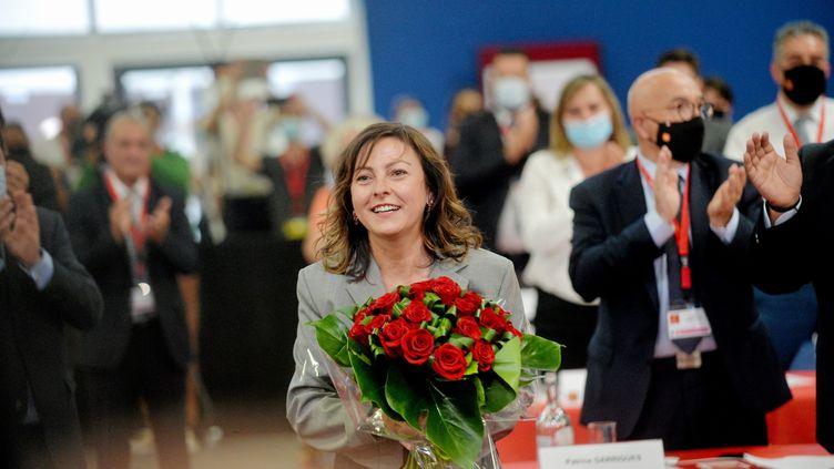 La présidente socialiste de la région Occitanie, Carole Delga, après sa réélection à la tête du conseil régional à Montpellier (Hérault)le 2 juillet 2021. (MAXPPP)