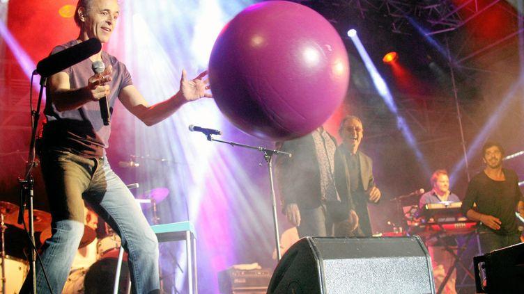 Jean-Jacques Goldman sur scène aux Vendanges du Coeur àOuveillan.en 2014. (MICHAEL ESDOURRUBAILH / MAXPPP)
