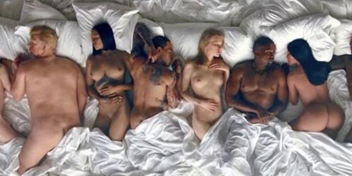 """Kanye West entouré de célebrités de cire dans le clip de """"Famous"""".  (Tidal)"""