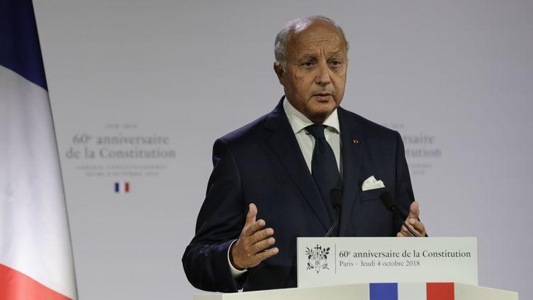 Laurent Fabius, le président du Conseil constitutionnel, le 4 octobre 2018, lors d'une cérémonie marquant le 60e anniversaire de la Constitution de la Ve République à Paris. (THOMAS SAMSON / AFP)
