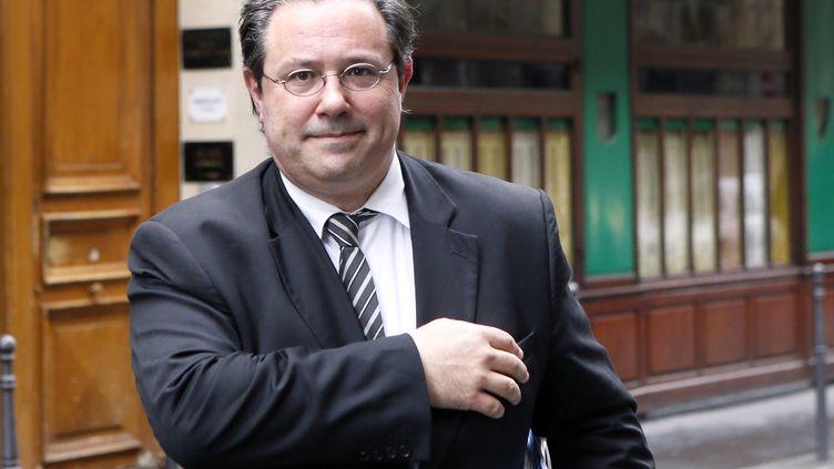 Jérôme Peyrat, alors directeur de campagne deNathalie Kosciuscko-Morizet pour les municipales de 2014, le 9 avril 2013, à Paris. (PATRICK KOVARIK / AFP)