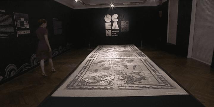 La mosaïque qui mesure 7m de long sur 2m de large est exposée au cloître de Saint-André-le-Bas à Vienne.  (France 3 / Culturebox)
