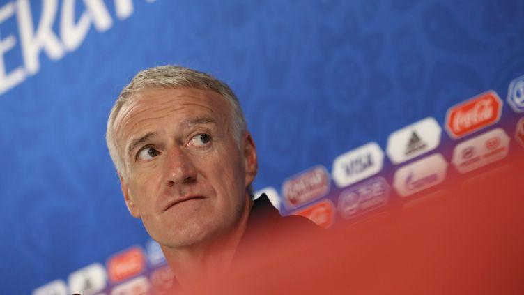 Le sélectionneur de l'équipe de France, Didier Deschamps, lors d'une conférence de presse à Ekaterinbourg, le 20 juin 2018. (MAXPPP)