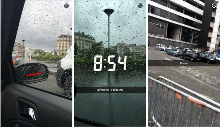 "Extraits de la ""story"" Snapchat de Nabilla Benattia, le jour de son procès à Nanterre (Hauts-de-Seine). (NABILLA BENATTIA / SNAPCHAT)"