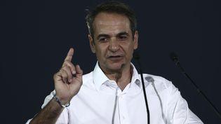 Le leader dedu partide droite Nouvelle démocratie, Kyriakos Mitsotakis, le 7 juillet 2019. (PANAYOTIS TZAMAROS / NURPHOTO / AFP)