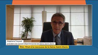 Stéphane Troussel, président du département de la Seine-Saint-Denis, le 21 septembre sur la chapine franceinfo. (FRANCEINFO)