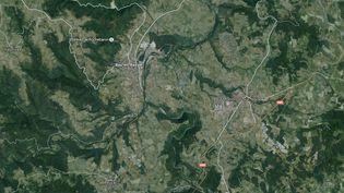 L'accident mortel s'est produit près de Bas-en-Basset (Haute-Loire), situé au sud-ouest de Saint-Etienne, le 13 juin 2015. ( GOOGLE MAPS / FRANCETV INFO )