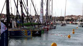 Le ponton du Vendée Globe après le reconfinement, dix jours avant le départ de l'édition 2020, le 29 octobre 2020. (PHILIPPE REY-GOREZ / FRANCE-BLEU LOIRE OCÉAN)