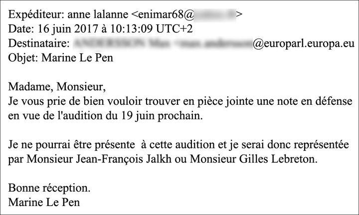 E-mail d'Anne Lalanne. (CAPTURE ECRAN / RADIOFRANCE)
