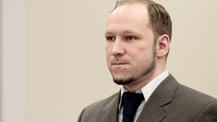 Anders Behring Breivik lors de son procès, le 27 avril 2012, au tribunal d'Oslo (Norvège). (HAKON MOSVOLD LARSEN / AFP)
