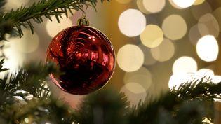 Des décorations de Noël dans un arbre près de l'Hôtel de Ville de Paris, le 13 décembre 2019. (AURORE MESENGE / AFP)