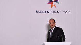 François Hollande devant la presse à Malté, le 3 février 2017 (ANDREAS SOLARO / AFP)