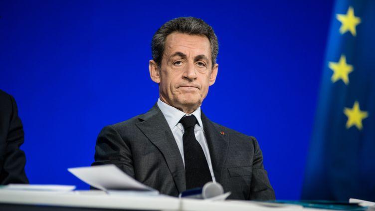 Le président des Républicains, Nicolas Sarkozy, lors du conseil national de son parti, le13 février 2016 à Paris. (YANN KORBI / CITIZENSIDE / AFP)