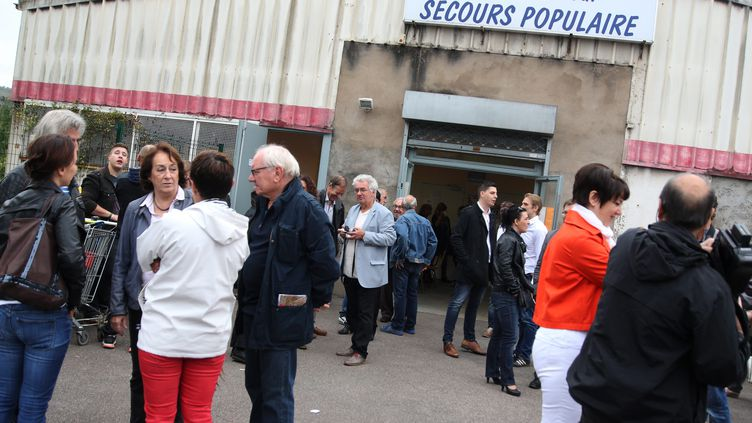 Hayange Manifestation contre la fermeture du Secours populaire àHayange(Moselle), le 30 septembre 2016 (MAXPPP)