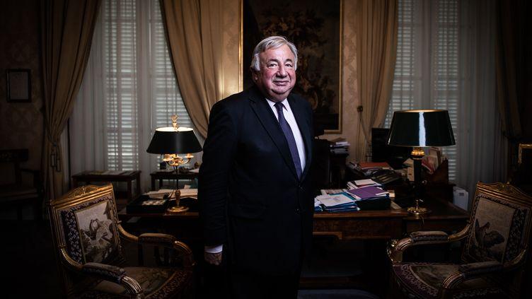 Gérard Larcher, dans son bureau, au Sénat, à Paris, le 24 juillet 2019. (MARTIN BUREAU / AFP)