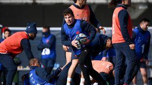Les joueurs du XV de France à Marcoussis (Essonne), le 11 février 2021. (FRANCK FIFE / AFP)