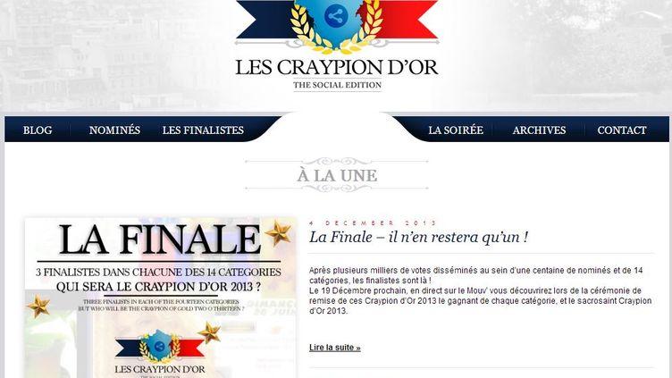 """Capture d'écran de la page d'accueil du site des Craypion, prix ironique du site internet """"chatoyant"""". (LES CRAYPION D'OR)"""