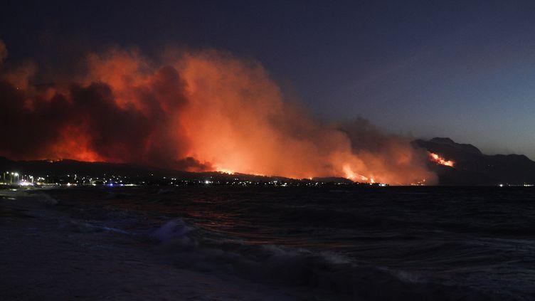 Un incendie à Alepochori, à 70km à l'ouest à d'Athènes, en Grèce, le 20 mai 2021. (NICK PALEOLOGOS / SOOC / AFP)