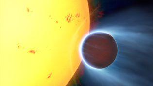 Vue d'artiste de 51 Pegasi b (à droite), première exoplanèe découverte, en 1995, à 51 années-lumière de la Terre, en orbite autour de l'étoile 51 Pegasi (à gauche). (L. BRET / NOVAPIX / LEEMAGE / AFP)