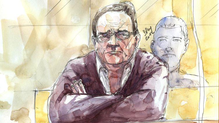 Dessin d'audience représentant Bruno Cholet lors de son procès devant les assises de Paris, le 13 septembre 2012. (BENOIT PEYRUCQ / AFP)