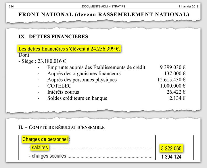 Extrait de la publication générale des comptes des partis et groupements politiques au titre de l'exercice 2017, pour le Front national. (Document de la commission nationale des comptes de campagne (CNCCFP))