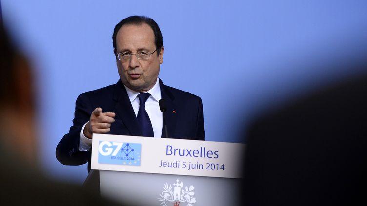 François Hollande à Bruxelles (Belgique), à l'issue d'unsommet du G7, le 5 juin 2014. (ALAIN JOCARD / AFP)