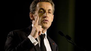 Nicolas Sarkozy en meeting à Saint-Maur-des-Fossés (Val-de-Marne), le 9 mars 2015. (KENZO TRIBOUILLARD / AFP)