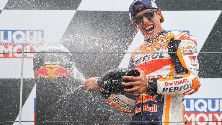 L'Espagnol Marc Marquez (Honda) a remporté le Grand d'Allemagne en MotoGP, dimanche 20 juin 2021. (JAN WOITAS / DPA-ZENTRALBILD)