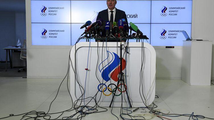 Le président du Comité olympique russe,Stanislav Pozdnyakov, tient une conférence de presse, le 9 décembre 2019. (ALEXANDER NEMENOV / AFP)