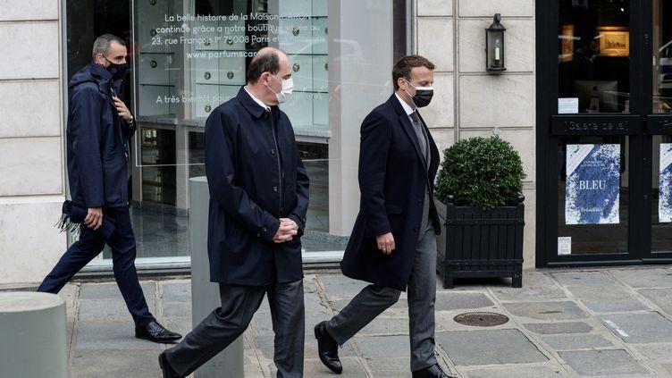 Le Premier ministre Jean Castex et le président de la République Emmanuel Macron à Paris (France) le 19 mai 2021 (GEOFFROY VAN DER HASSELT / AFP)