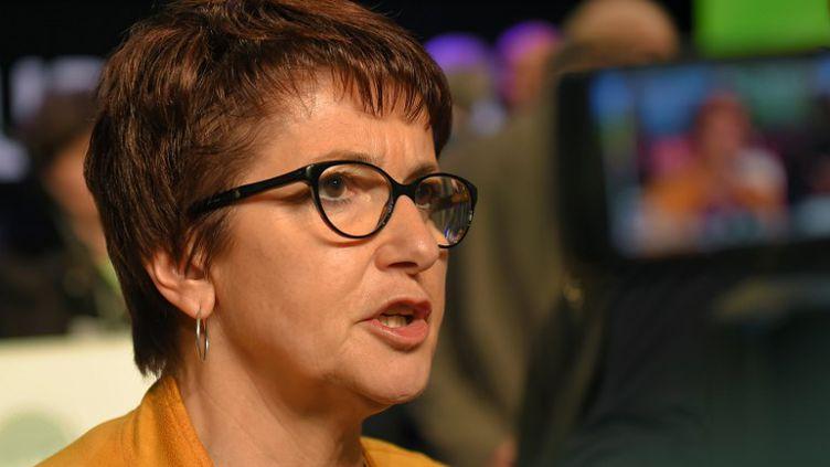 Laprésidente de la FNSEA, Christiane Lambert, à Tours, le 29 mars 2018. (GUILLAUME SOUVANT / AFP)