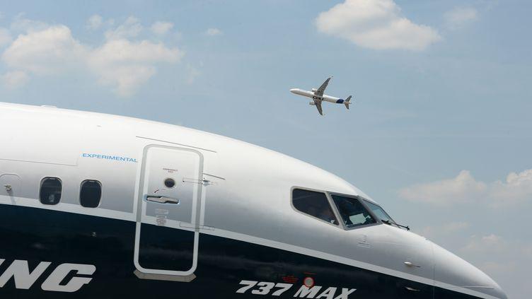 Le cockpit d'un Boeing 737 Max à l'aéroport du Bourget (Seine-Saint-Denis), le 21 juin 2017. (ERIC PIERMONT / AFP)
