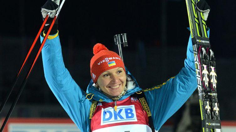 Olena Pidhrushna (Ukraine) vainqueur du sprint aux championnats du monde (MICHAL CIZEK / AFP)