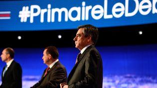 Les candidats à la primaire à droite s'affrontent lors d'un premier débat, àLa Plaine-Saint-Denis, au nord de Paris, le 13 octobre 2016. (MARTIN BUREAU / POOL / AFP)