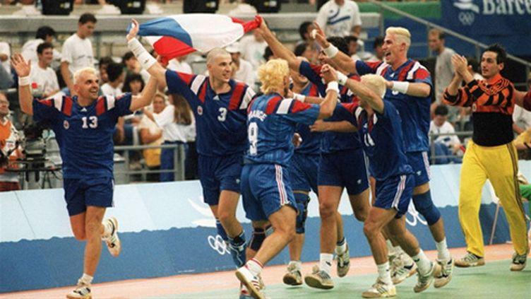 Les Français, tombeurs de l'Islande remportaient le bronze aux JO de 1992 (CHRISTOPHE SIMON / AFP ARCHIVES)