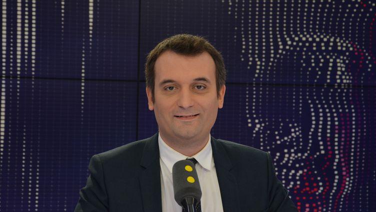 Florian Philippot était l'invité de franceinfo. (RADIO FRANCE / JEAN-CHRISTOPHE BOURDILLAT)