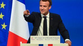 Emmanuel Macron à Montpellier (Hérault), le 13 juin 2018. (SYLVAIN THOMAS / AFP)