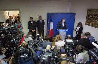 Le procureur de Paris François Molins lors d'un point-presse au palais de justice, le 14 novembre 2015, au lendemain des attaques terroristes commises dans la capitale. (GEOFFROY VAN DER HASSELT / ANADOLU AGENCY / AFP)